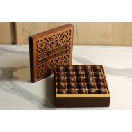 25 li Bitter Çikolatalı Truff Ahşap Kutu