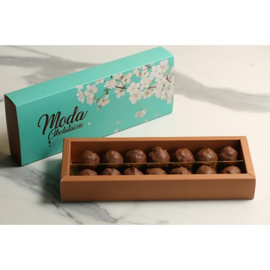 14 lü Sütlü Çikolatalı Truff Turkuaz Kutu
